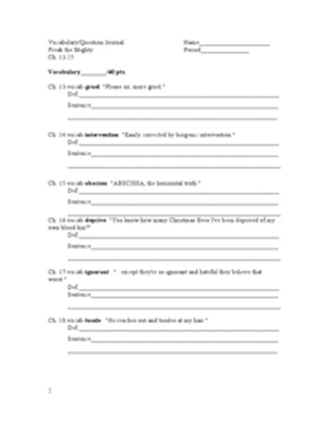Freak The Mighty Vocabulary Worksheets by Freak The Mighty Vocabulary Question Journal Ch 13 25 6th