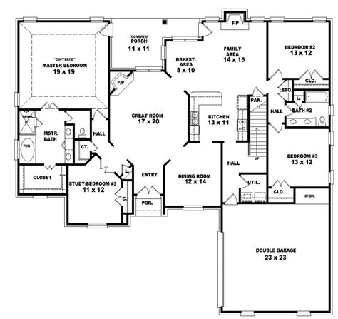 Ranch With Walkout Basement Floor Plans by 4 Bedroom 1 Story House Plans Excellent Ideas Curtain New