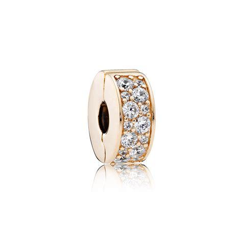 Pandora Clip Charm White P 524 shining elegance 14k gold clear cz pandora jewelry us
