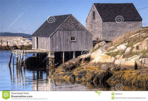 fishing shacks peggy s cove scotia royalty free