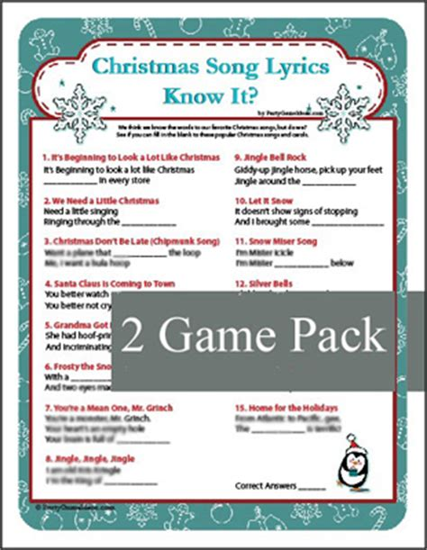 printable christmas music games christmas song lyrics know it game christmas carol game