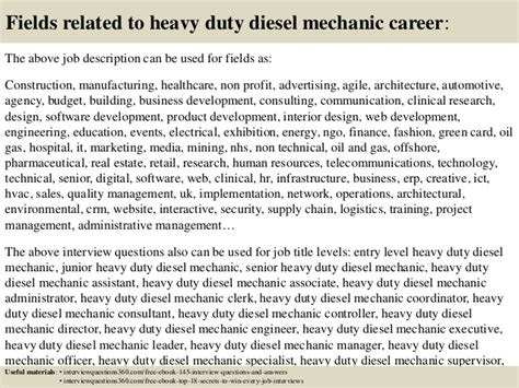 top 10 heavy duty diesel mechanic questions and answers