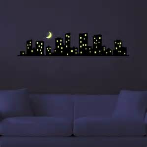 other crafts phosphorescent glow in the dark city glow in the dark moon and stars wall sticker decal ebay