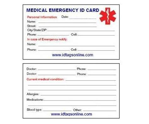 emergency id card template 8 best images of free printable cards free