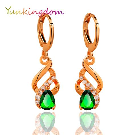 Zircon Pearl Memo Sgi yunkingdom water drop green zircon earrings for