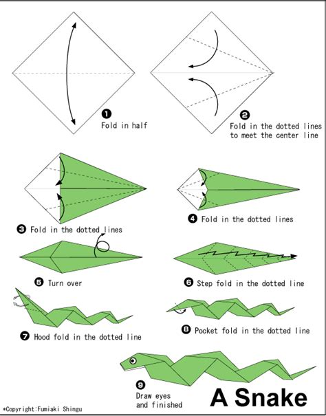Origami Lizard Diagram - snake easy origami for