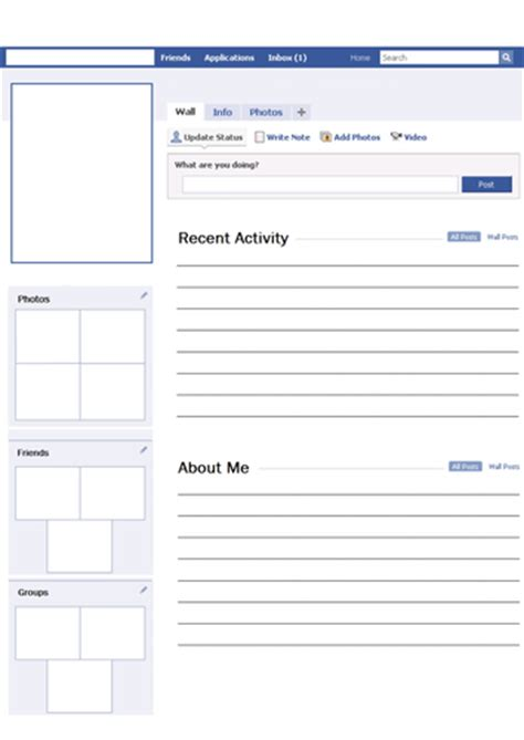 blank facebook profile worksheet activity by svroddam