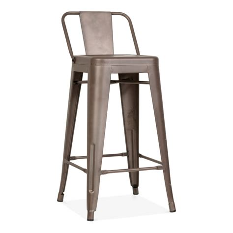 bar stools with low backs tolix style metal bar stool with low back rest rustic 65cm