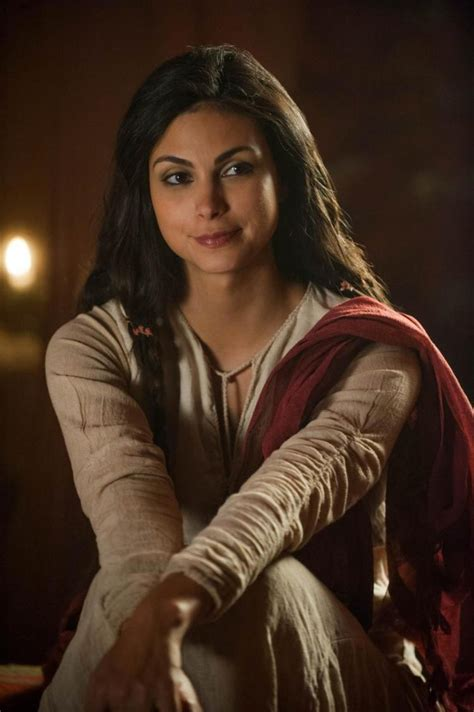 brown hair with the red tent to it and blonde highlights morena baccarin stars in two part tv series the red tent