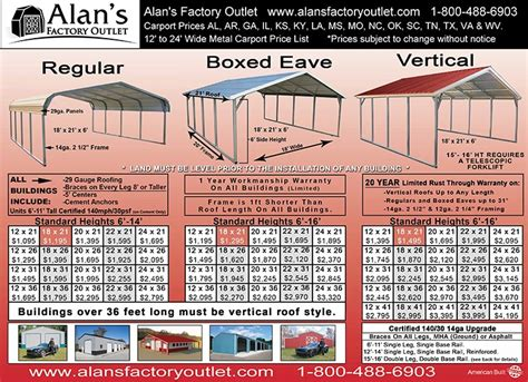 Carolina Carport Prices by Metal Carport Prices Steel Carport Prices Alan S