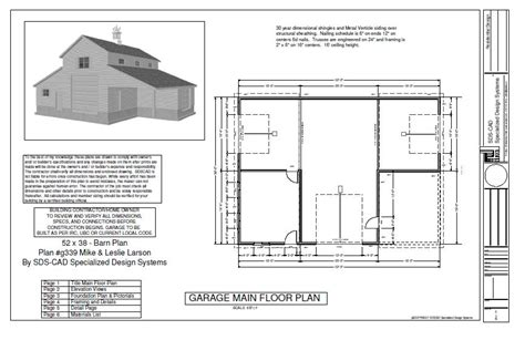 52 x 38 barn plan blueprint pole barn plans