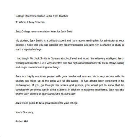 Reference Letter For College From A Sle College Recommendation Letter 14 Free Documents