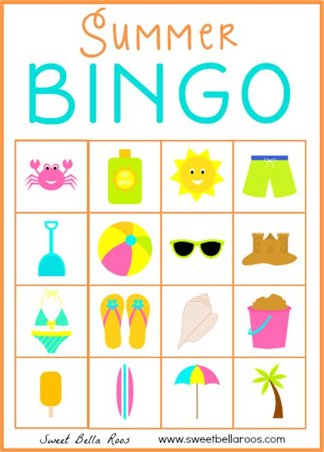 great printable board games free download of summer bingo printable 10 cards in the