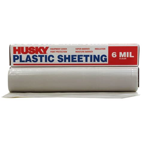 husky 10 ft 4 in x 100 ft clear 6 mil plastic sheeting