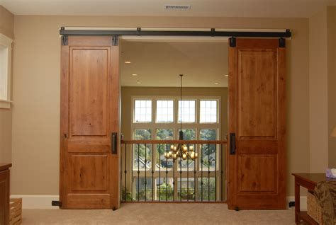 Furniture Sliding Brown Wooden And Clear Glass Barn Doors Barn Track Doors
