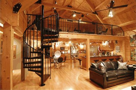 modern log home interiors modern log home interior spiral staircase to loft