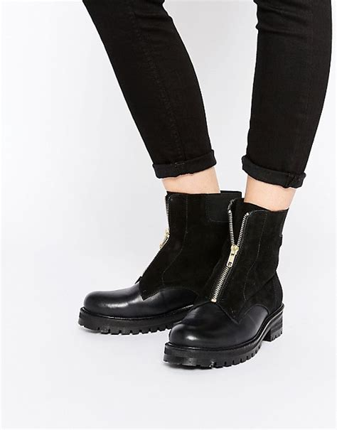 front zip ankle boots park park chunky zip front leather ankle boots