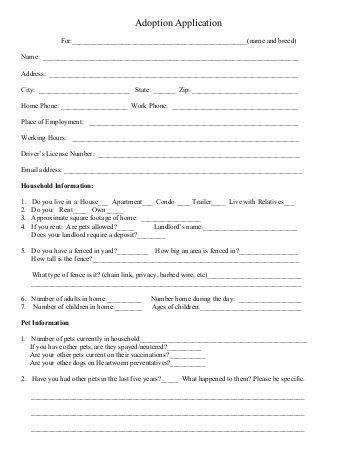 Dog Adoption Application Second Chance Pet Network Adoption Application Template