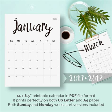 desk calendar 2017 2018 printable calendar 2017 2018 desk calendar pdf download