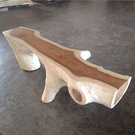 natural wood bench nature collection funky wooden bench ii in natural wood