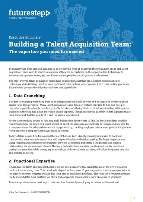 Talent Acquisition Project For Mba by Executive Summary Building A Talent Acquisition Team