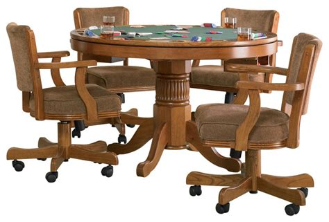 5 pc dining set traditional round table solid wood chairs 5 pc functional round reversible top dining game table set
