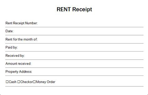 template of rent receipt blank receipt blank receipt template