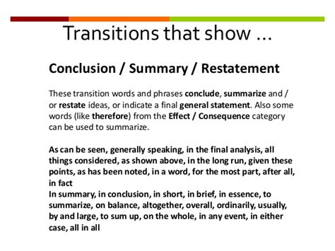 Conclusion Transitions For Essays a learning object designed to help students plan prepare and write a