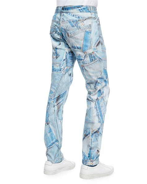 Patchwork Denim - moschino patchwork jean denim in blue lyst