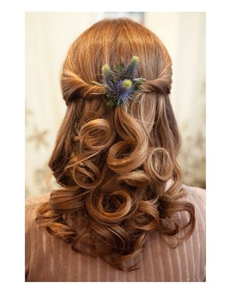 half up half wedding hair for brides and bridesmaids half up with curls half up with