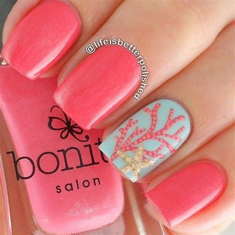 imagenes de uñas acrilicas en color coral u 241 as color coral con dise 241 os bonitos y f 225 ciles llenos de color