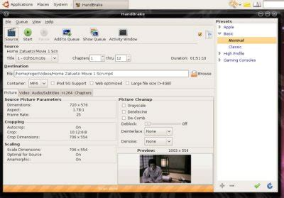 tutorial handbrake linux linux lovers june 2012