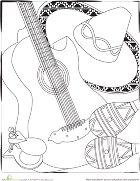 holiday music coloring pages color the cinco de mayo instruments worksheet