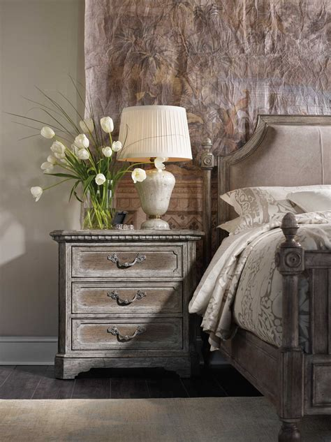 Vintage Bedroom Collection Nightstand In Almond Wheat Furniture True Vintage Soft Driftwood Size Poster Bed Hoo570190650