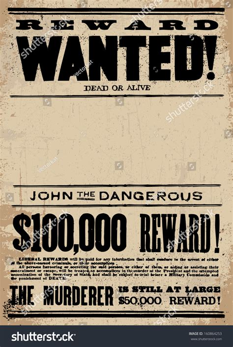 Vector Vintage Wanted Poster Template All Stock Vector 160864253 Shutterstock A Murderer Poster Template