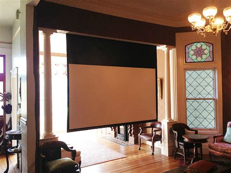 Home Library Lighting Design hidden library projector screen san francisco victorian