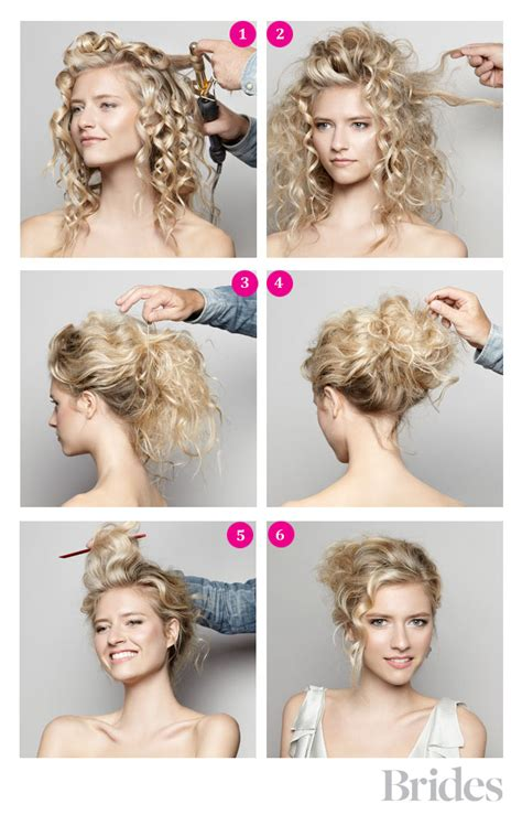 curly hair updos step by step diy wedding hairstyle video a romantic updo wedding