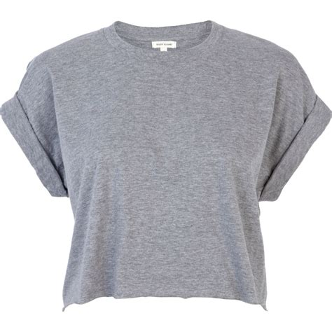 Sleeve Cropped T Shirt grey sleeve boxy cropped t shirt tops sale