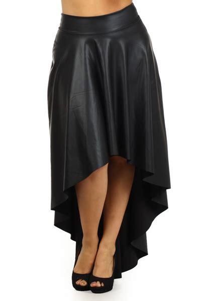 plus size faux leather skirt high waist hi lo midi maxi