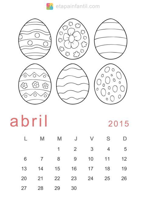 Dibujos Calendario Para Pintar Calendarios Abril 2015 Con Dibujos Para Pintar Colorear