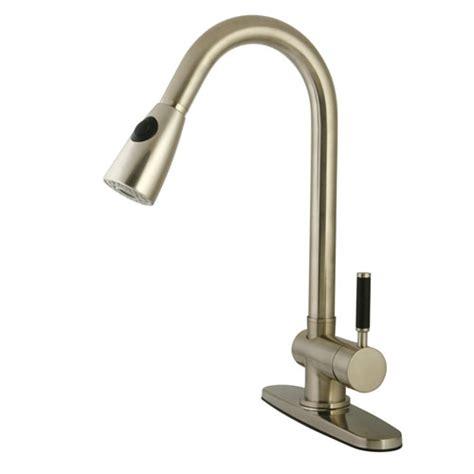kaiser satin nickel single handle kitchen faucet w pull