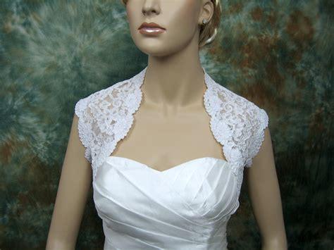 Renda Bordir 063 white sleeveless bridal alencon lace bolero jacket lace 063