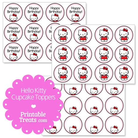 free hello kitty cupcake topper printable from