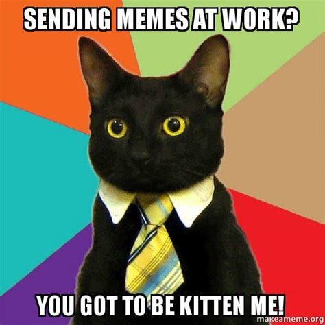 sending memes at work you got to be kitten me business