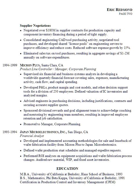 Manufacturing Controller Cover Letter by Resume Exle For A Controller Susan Ireland Resumes
