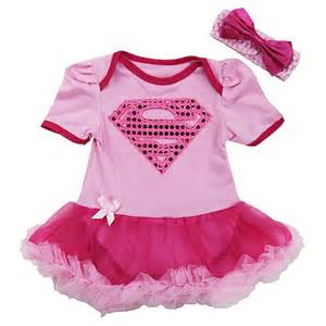 Pink sequin supergirl super girl infant newborn baby girl tutu outfits