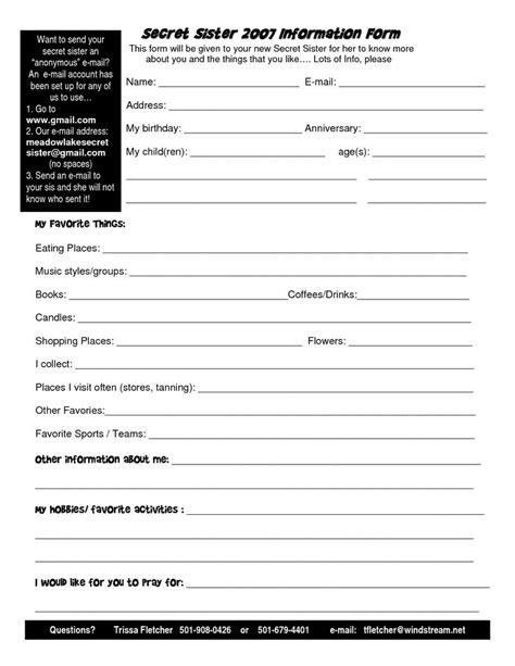 secret form the gallery for gt secret pal information sheet