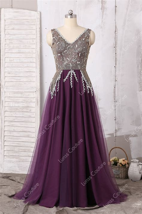 Grape Straps V neck Rhinestone Tulle Floor Length A line