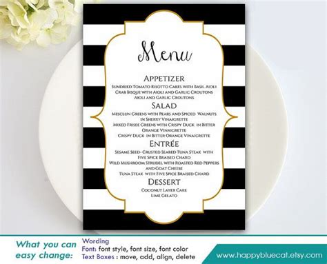 Diy Printable Wedding Menu Template Instant Download Editable Text Black White Stripes Black And Gold Menu Template