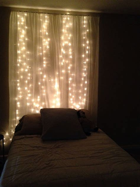 curtains for headboard 15 diy curtain headboard with christmas lights home
